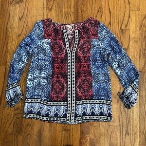 Lucky Brand Printed Henley Tunic Blouse Small